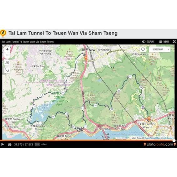 Tai Tam Tunnel to Tsuen Wan via Sham Tseng, GPX file, Gone Running - Gone Running