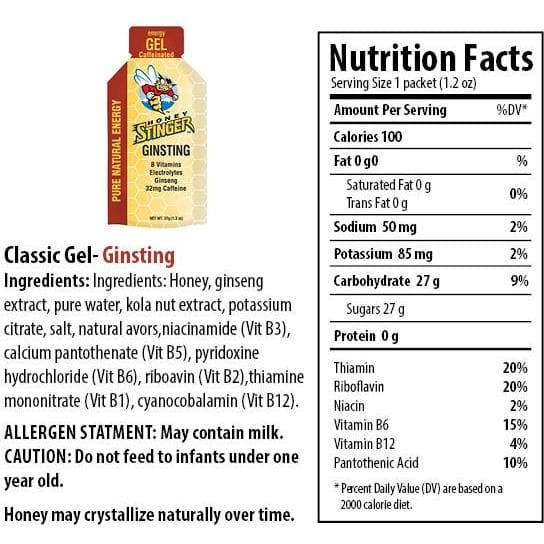 Honey Stinger Classic Energy Gel - Caffeinated Ginsting, Energy Gel, Honey Stinger - Gone Running