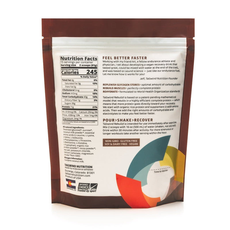 Tailwind Rebuild Recovery (15 Servings Bag), Recovery, Tailwind Nutrition - Gone Running