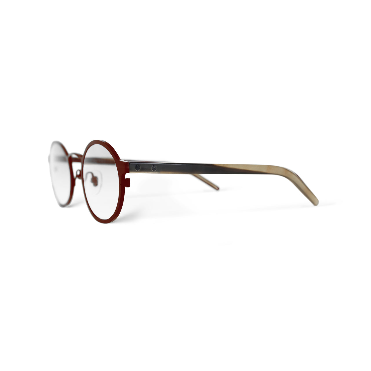 Metal / Horn. Crimson / Tortoise. Clear Lens. - BLYSZAK eyewear eyewear - eyewear, optical, sunglasses