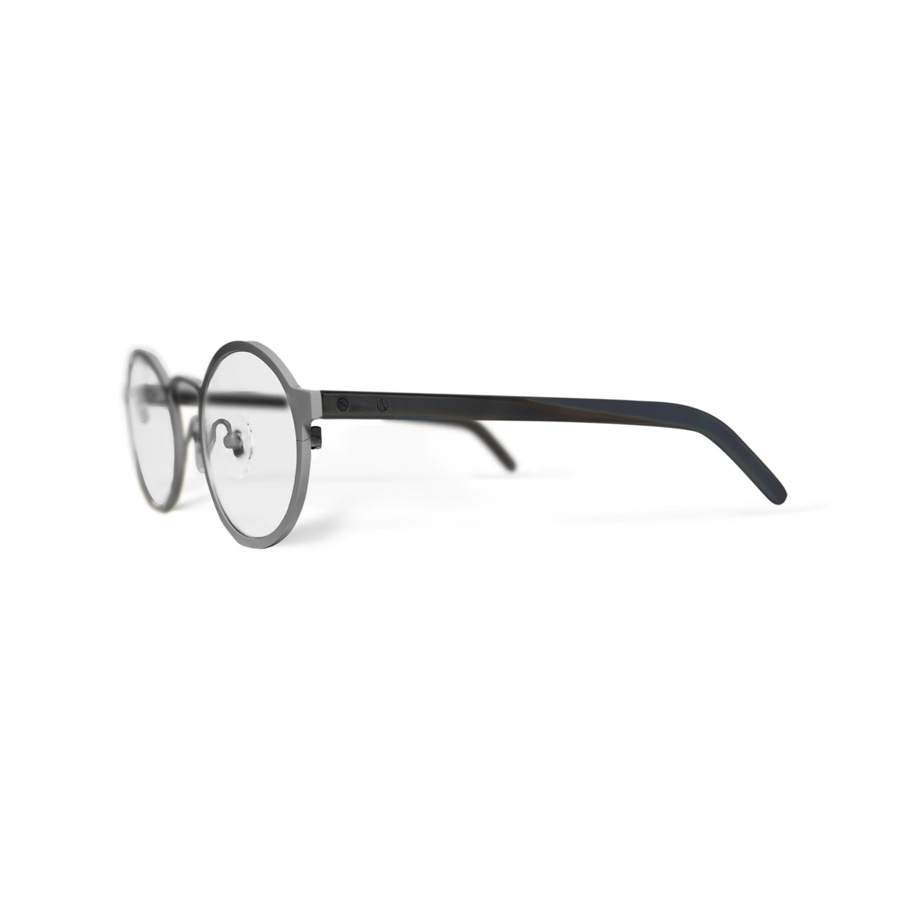 Metal / Horn. Brushed Silver / Dark. Clear Lens. - BLYSZAK eyewear eyewear - eyewear, optical, sunglasses
