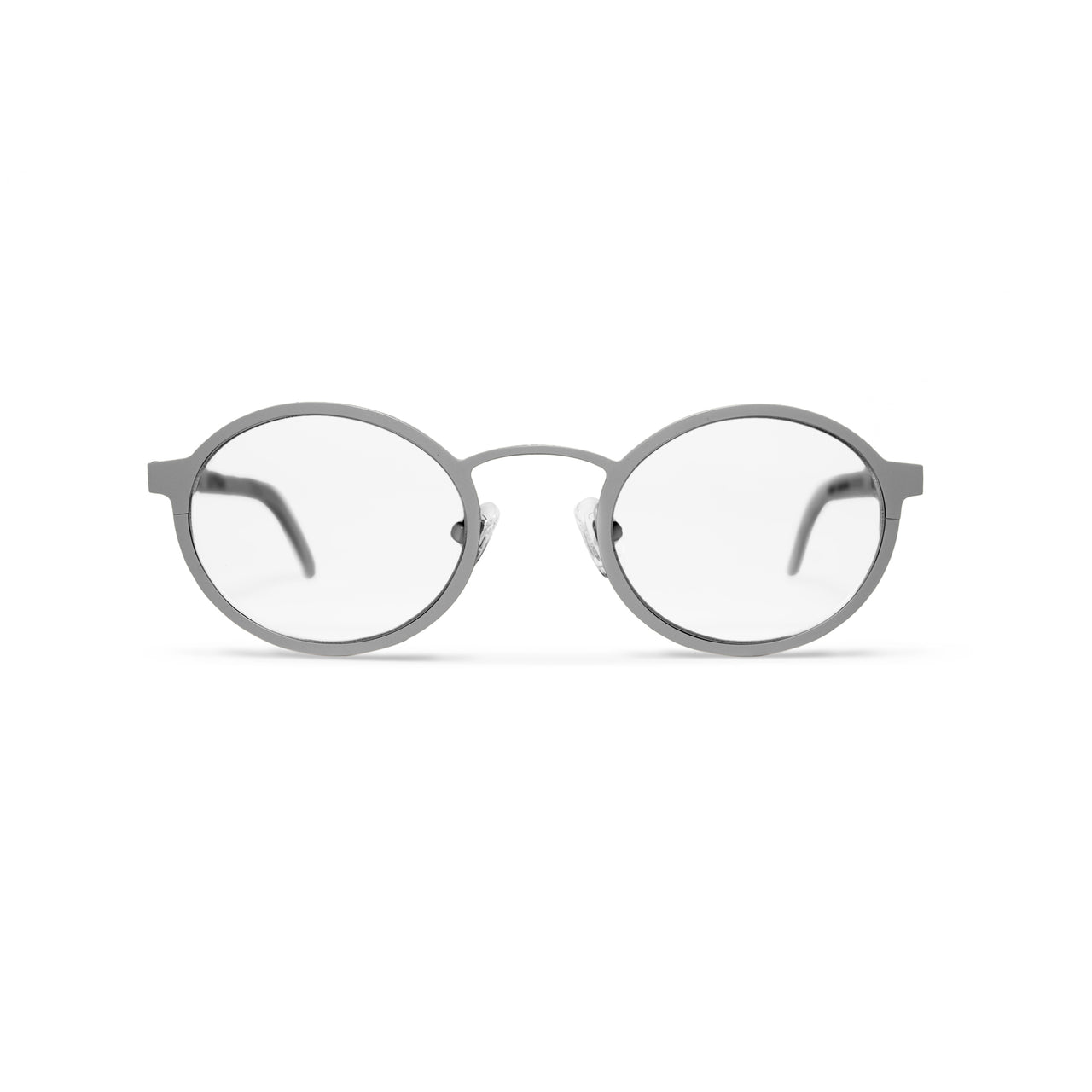 Metal. Brushed Silver. Clear Lens. - BLYSZAK eyewear eyewear - eyewear, optical, sunglasses