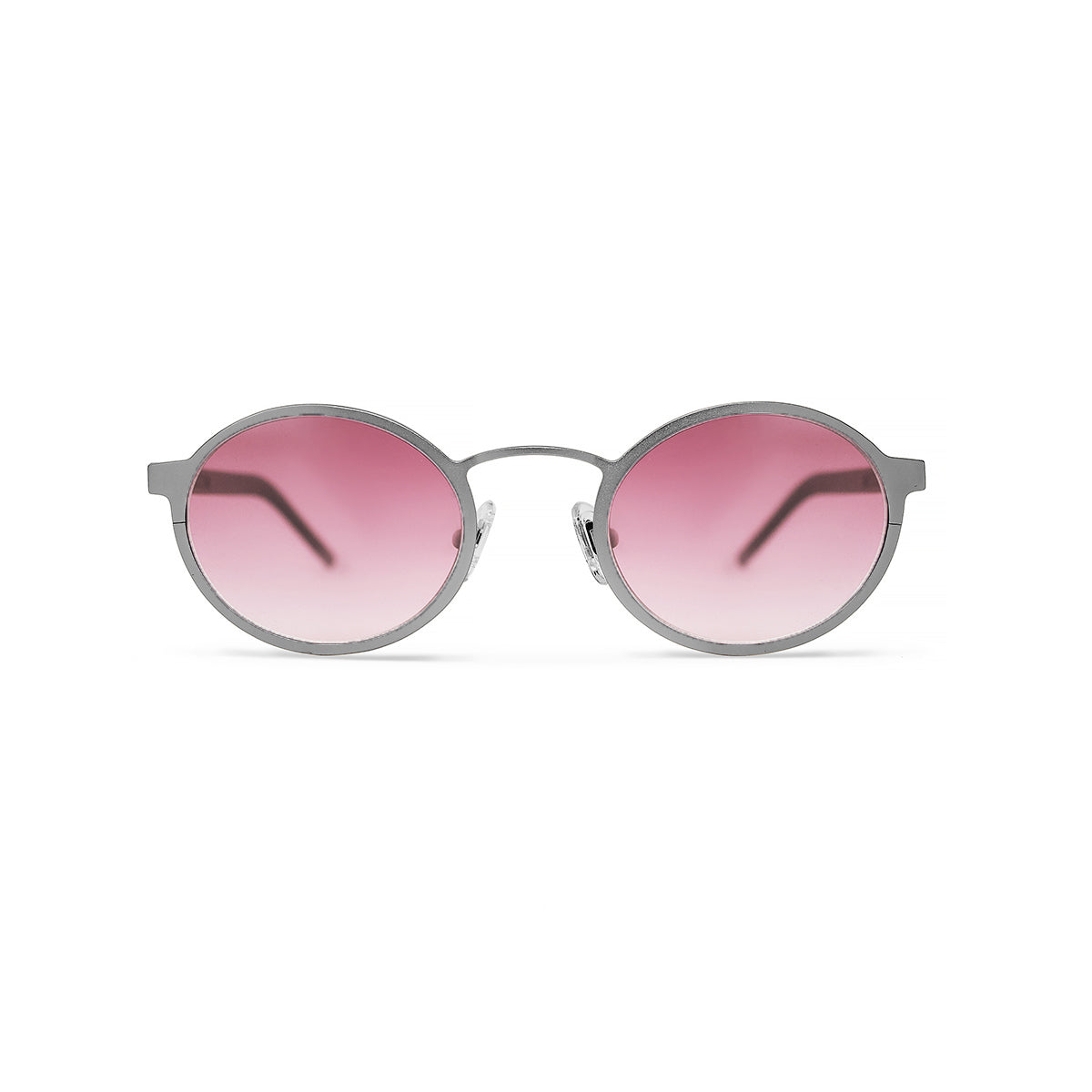 Metal. Brushed Silver. Blush Lens. - BLYSZAK eyewear eyewear - eyewear, optical, sunglasses