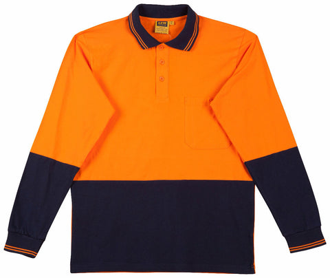 2 Tone Long Sleeve Safety Polo - SE36 - J&M Workwear  - 2