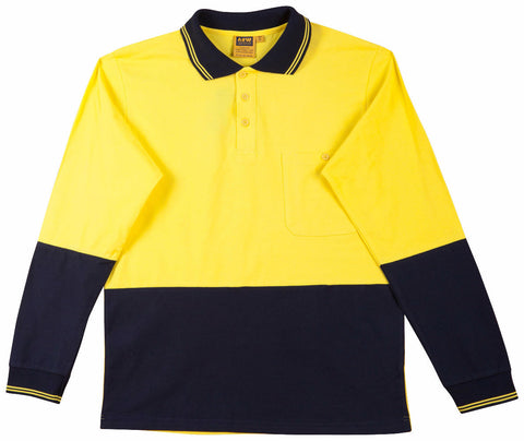 2 Tone Long Sleeve Safety Polo - SE36 - J&M Workwear  - 1