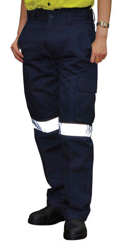 Heavy Cotton Drill Cargo Pants with 3M Tapes - WP15HV - J&M Workwear