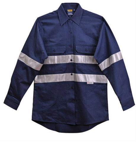 Cotton Drill Work Shirt with 3M Tapes - WT08HV - J&M Workwear