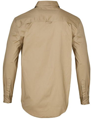 Back of WT10 Sand Work Shirt - J&M Workwear