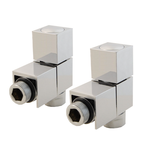 Cube Angled Square Radiator Valves - Chrome