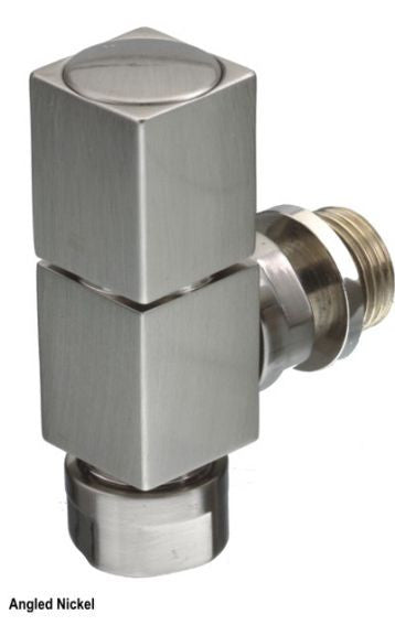 The Radiator Company Mini Cube Nickel Angle Manual Valves