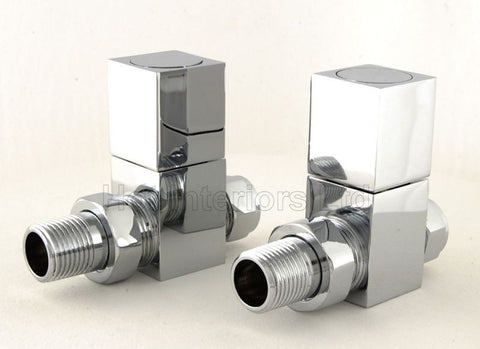 Cube Square Straight Radiator Valves - Chrome
