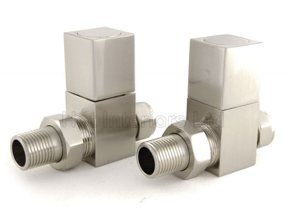Cube Square Straight Radiator Valves - Satin Nickel