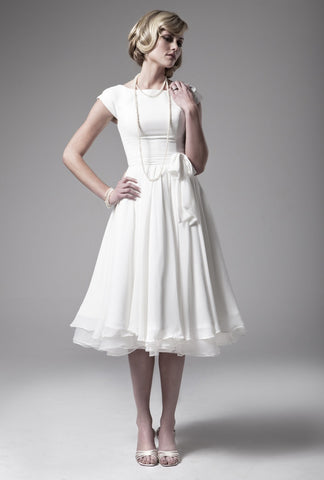Elegant modern tea length wedding dress