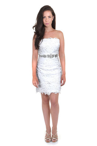 Lace  Short Strapless Dress