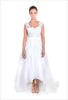 High Low Wedding Dress Beaded Aline Three Quartrer Length Backless Wedding Dress,front view