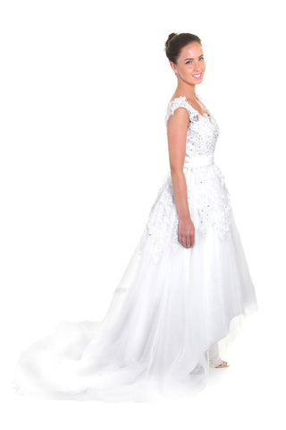 High Low Wedding Dress Beaded Aline Three Quartrer Length Backless Wedding Dress,side view