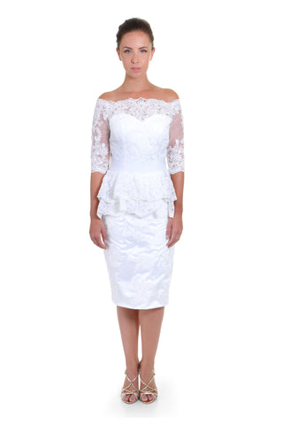 Short style wedding dress/ Off Shoulder/Tea length,front view