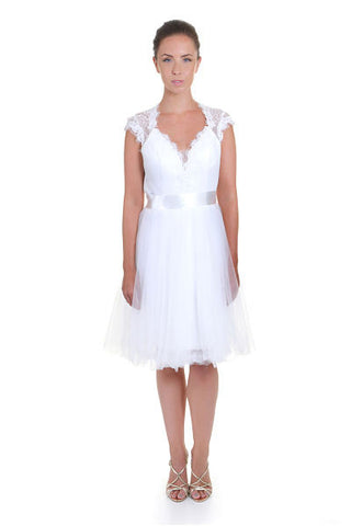 Short Wedding dresses,Tea length Wedding dress with Cap sleeves,Front view