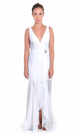 Greek style Wedding dress,High low chiffon wedding Dress, front view