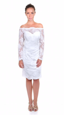Short Lace Wedding Dress with long sleeves, front view