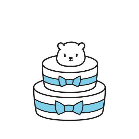 B1: 2 Tiered Diaper Cake - Baby Boy
