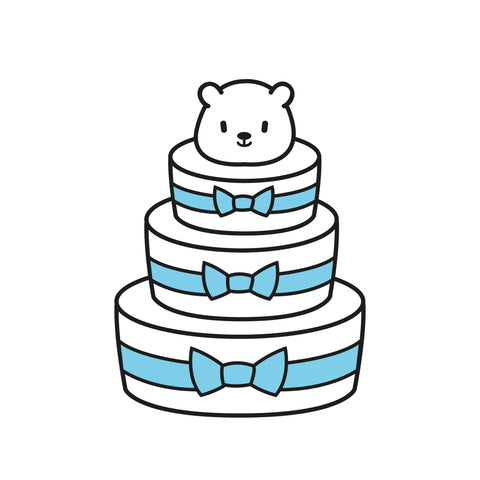 E1: 3 Tiered Deluxe Diaper Cake - Baby Boy