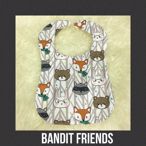 Handmade Bib - Bandit Friends