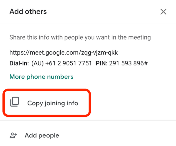 Google meet copy joining info