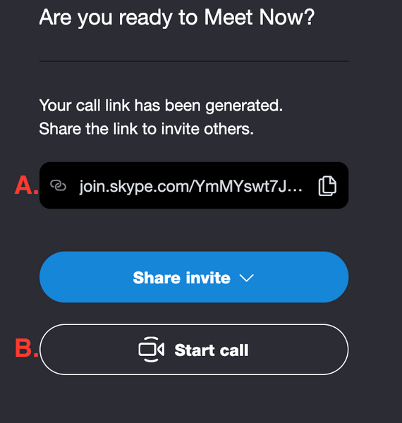 Share invite start call