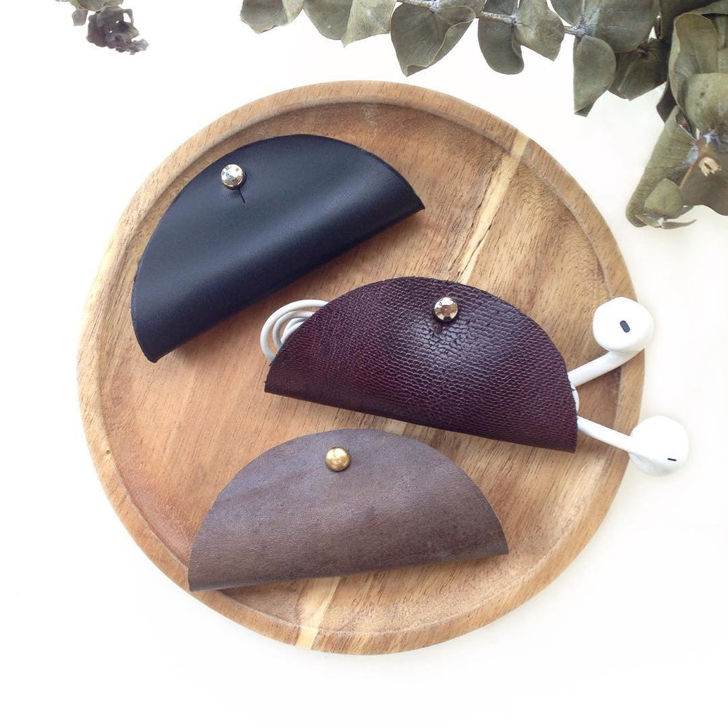 diykl leather taco cord earphone holder