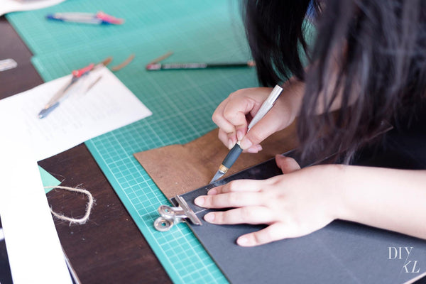 diykl leather clutch workshop