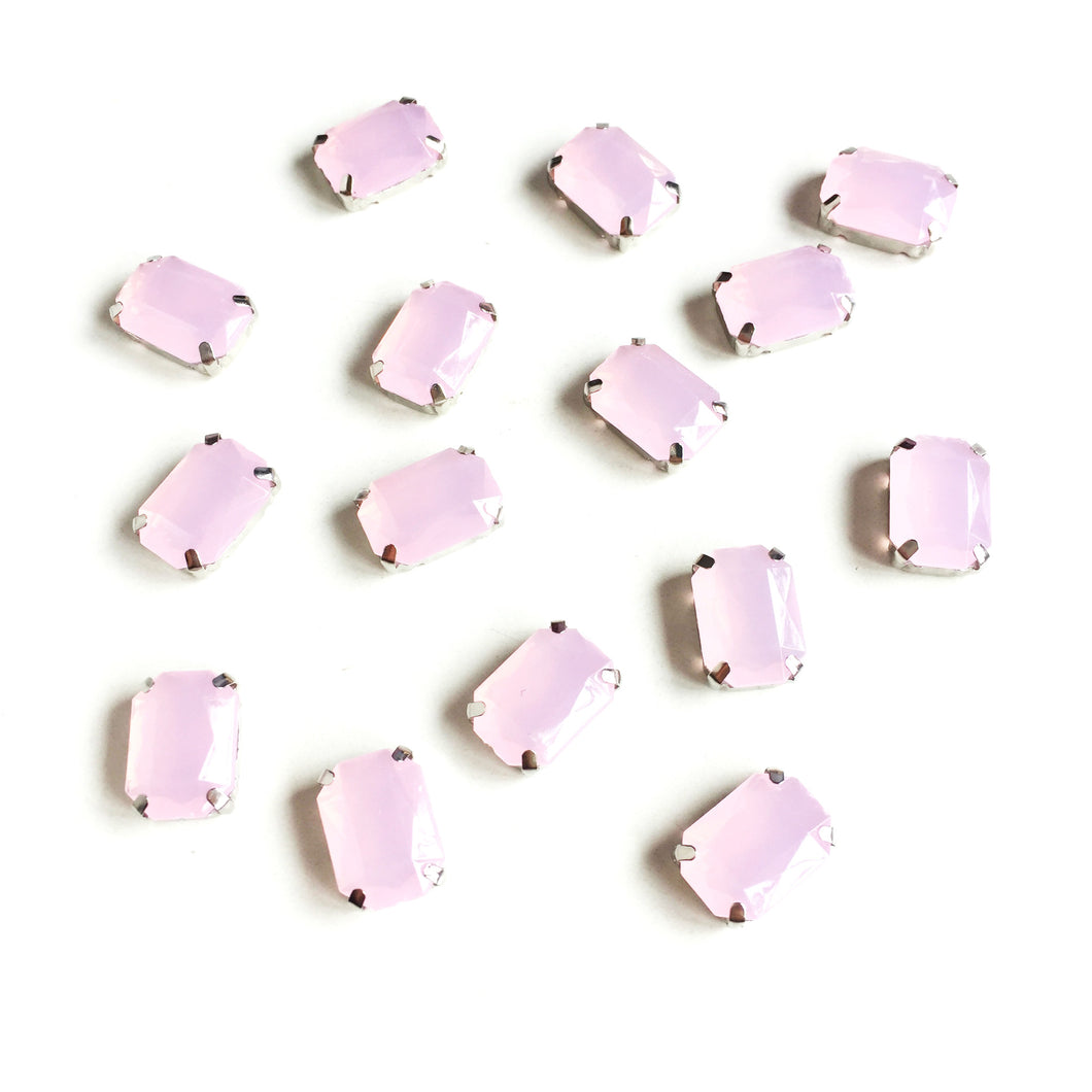 Rose Quartz Pink Pastel Rectangle Rhinestones