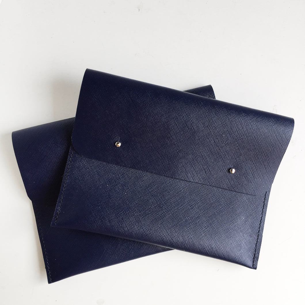 Navy Leather Saffiano Clutch