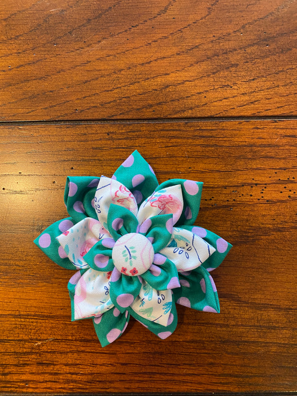 Phoebe's Hair bow in Teal and Pink Flamingos
