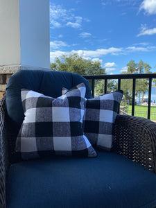 Pair of Black White Buffalo Check Pillow Covers