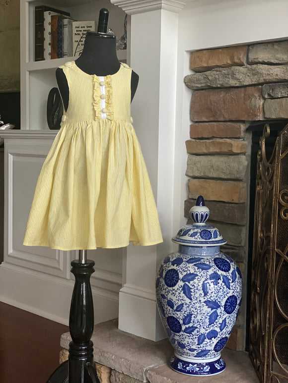 Poppy Pinafore in Lemon Yellow Seersucker