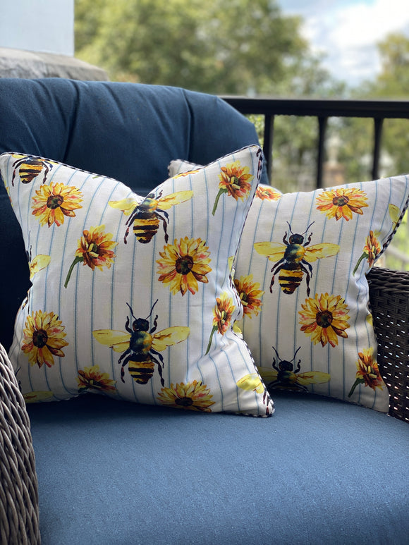 Pair of Bees and Sunflowers Fall Pillow Covers