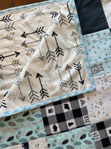 Woodland Adventure with Arrows Flannel and Minky Baby quilt