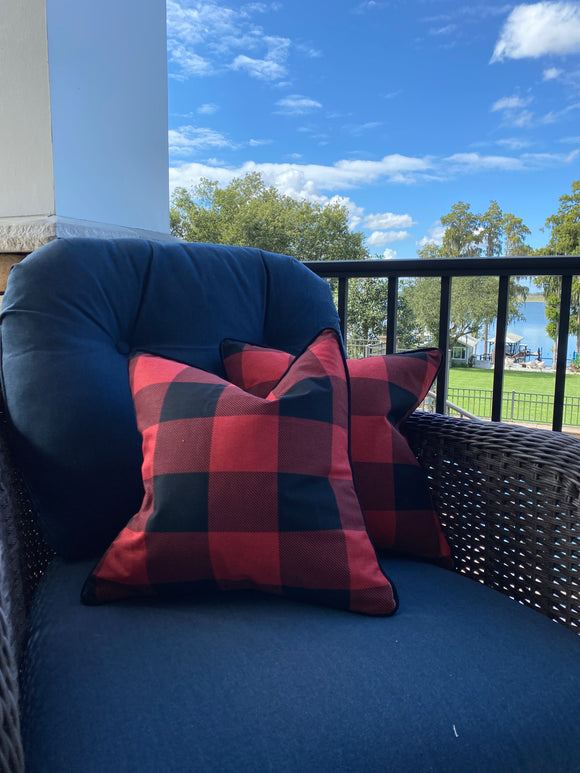 Pair of Black Red Buffalo Check Pillow Covers