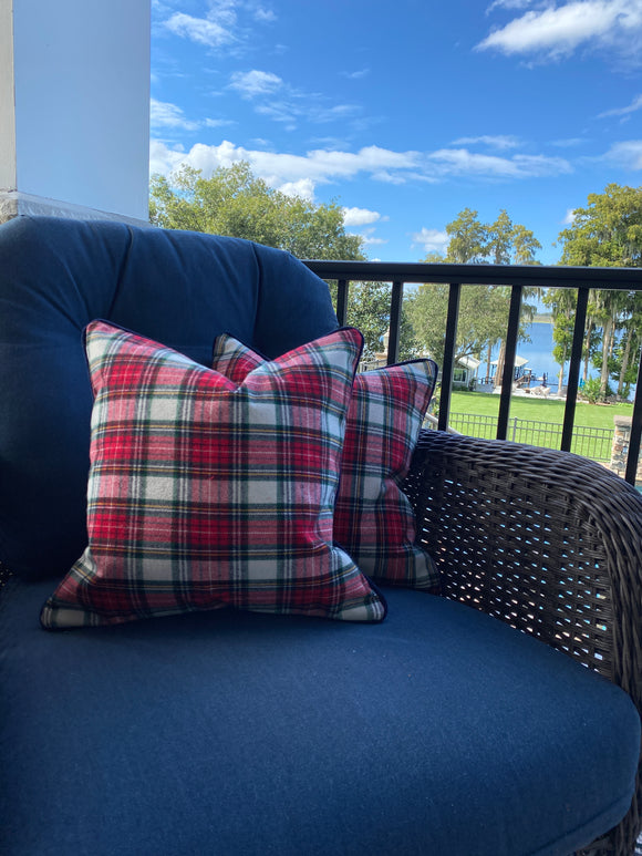 Pair of Red Plaid Christmas Pillow Covers