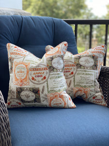 Pair of Nostalgic Fall Print Pillow Covers