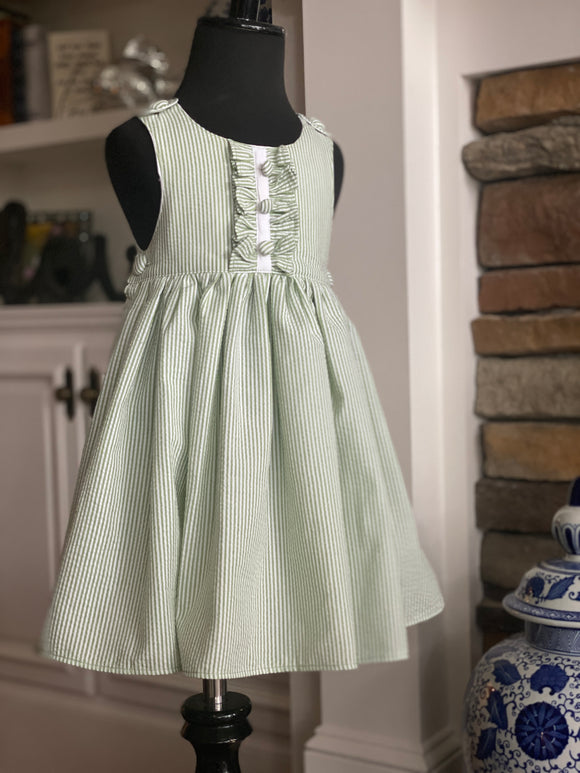 green striped seersucker dress with ruffled front bodice buttons on shoulders and sides for little girls