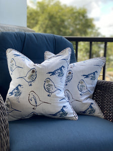 Pair of Sketched Birds Fall Pillow Covers