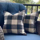 Pair of Black and Cream Buffalo Check Pillow Covers