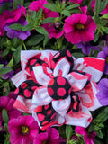 RoseThreads hair bow fabric matches dress covered button in center french clip on back