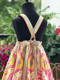 RoseThreads infant toddler party dress full skirt contrast hem criss cross back ties sundress twirl skirt halter matching bloomers matching bow