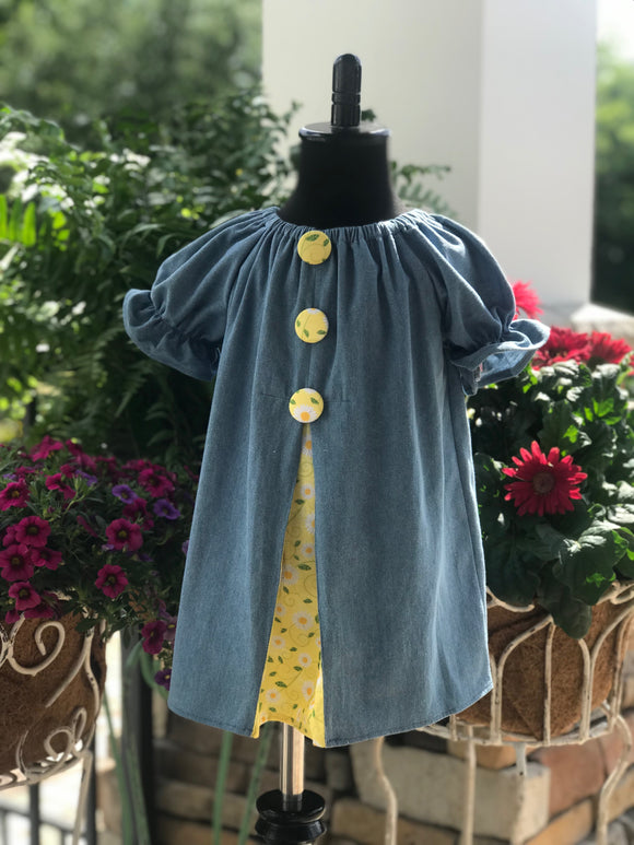RoseThreads lightweight denim pleated front contrast accent fabric cotton ships shipping fast bloomers buttons peasant dress handmade one of a kind original boutique baby dress toddler dress matching bow
