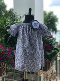 RoseThreads infant toddler bloomers peasant dress matching bow liberty of london short sleeve lightweight cotton summer blue calico