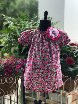 RoseThreads infant toddler bloomers peasant dress matching bow liberty of london short sleeve lightweight cotton summer pink purple floral