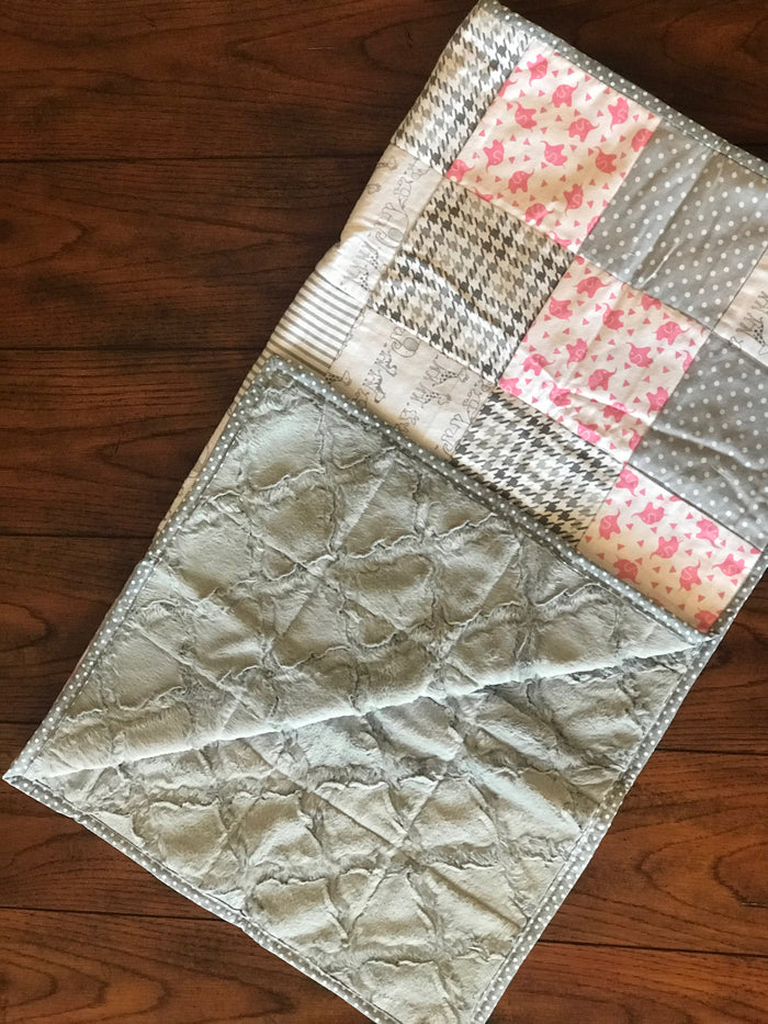 Pink Tossed-About Elephants Baby Quilt